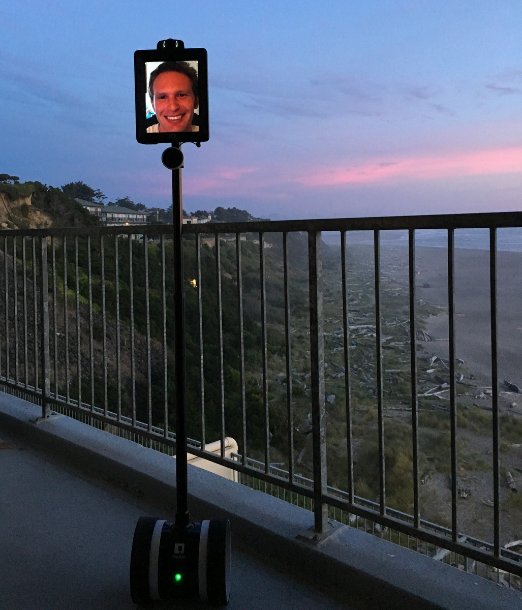 Double 2 telepresence robot at the beach