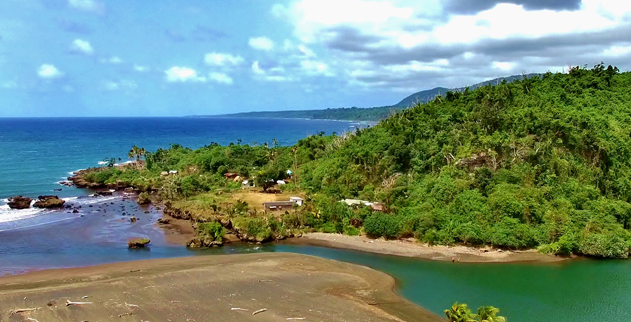 Drone aerial view of the South Pacific island nation of Vanuatu.
