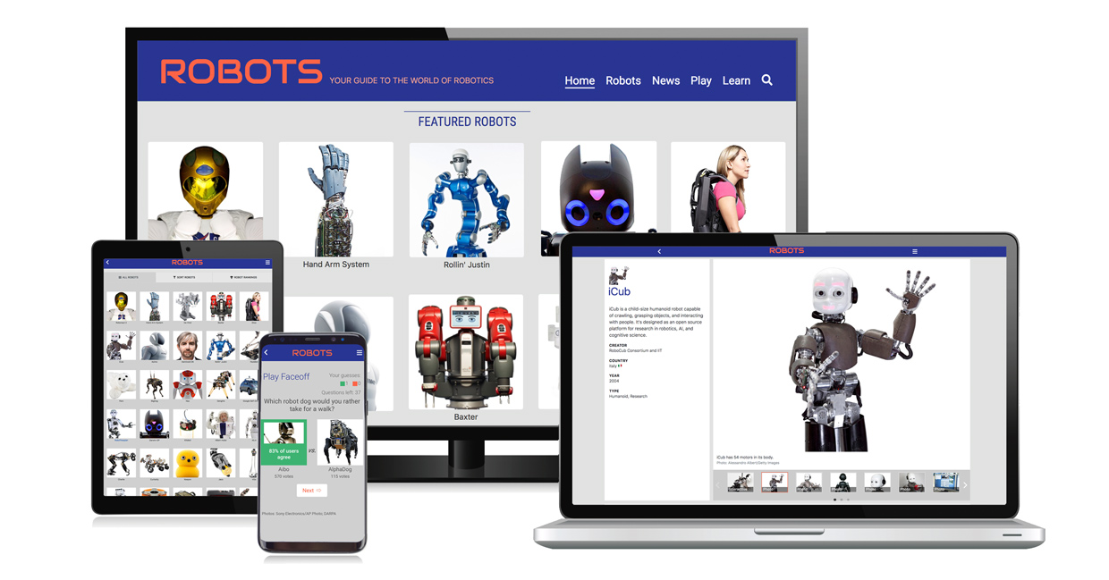 Collage showing various platforms supported on the robotics app
